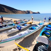 ES kayaks on beach 9x6