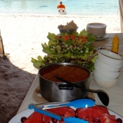 ES:IH food in tent beach 9x6