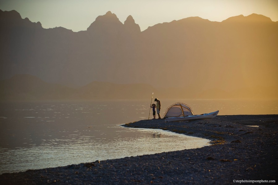 IH dad, son tent and kayak sunset 9x6