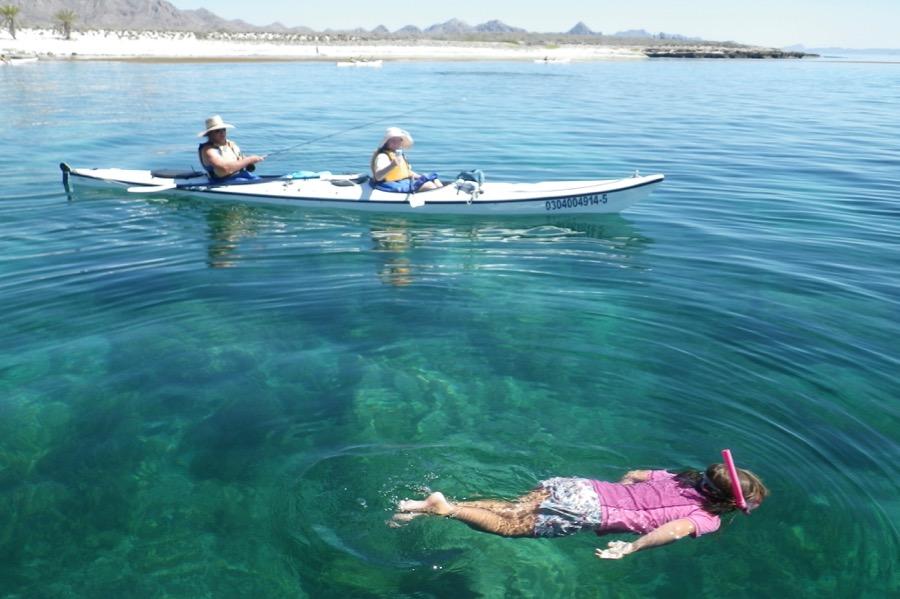 IH double kayak and snorkeler 9x6