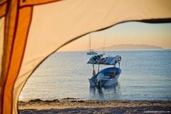 IH boat & sunrise Puerto Gato 9x6