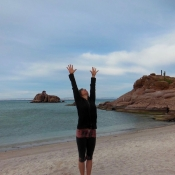 Well yoga on beach